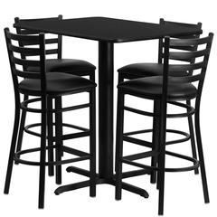 Flash Furniture 24''W x 42''L Rectangular Black Laminate Table Set with 4 Ladder Back Metal Barstools - Black Vinyl Seat