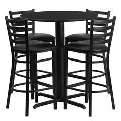 30'' Round Black Laminate Table Set with 4 Ladder Back Metal Barstools - Black Vinyl Seat