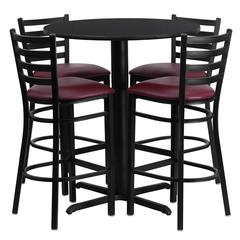 30'' Round Black Laminate Table Set with 4 Ladder Back Metal Barstools - Burgundy Vinyl Seat