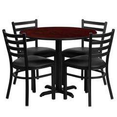 Flash Furniture 36'' Round Mahogany Laminate Table Set with 4 Ladder Back Metal Chairs - Black Vinyl Seat