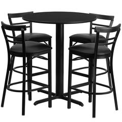 Flash Furniture 24'' Round Black Laminate Table Set with 4 Ladder Back Metal Barstools - Black Vinyl Seat