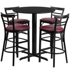 Flash Furniture 24'' Round Black Laminate Table Set with 4 Ladder Back Metal Barstools - Burgundy Vinyl Seat
