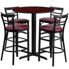 24'' Round Mahogany Laminate Table Set with 4 Ladder Back Metal Barstools - Burgundy Vinyl Seat