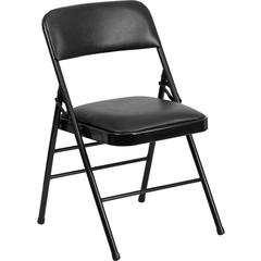 HERCULES Series Triple Braced Black Vinyl Upholstered Metal Folding Chair