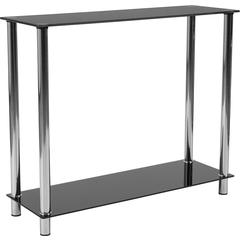 Riverside Collection Black Glass Console Table with Shelves and Stainless Steel Frame