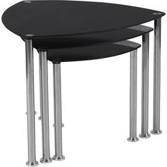 Pacific Heights Black Glass Nesting Tables with Stainless Steel Legs