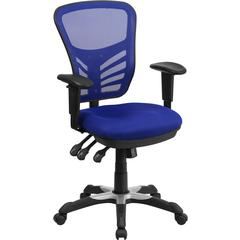 Flash Furniture Mid-Back Blue Mesh Swivel Task Chair with Triple Paddle Control