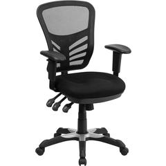 Mid-Back Black Mesh Multifunction Executive Swivel Chair with Adjustable Arms