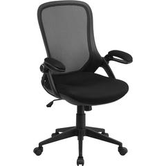 Flash Furniture High Back Black Mesh Executive Swivel Office Chair with Comfort Curved Back and Flip-Up Arms