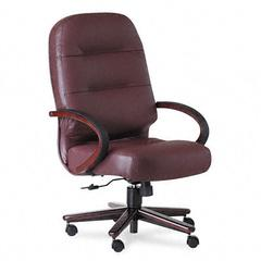 HON 2190 Pillow-Soft Wood Series Executive High-Back Chair, Burg. Leather/Mahogany