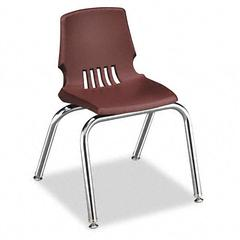 "Proficiency Student Shell Chair, 14"" Seat Height, Garnet Shell, 4/Carton"