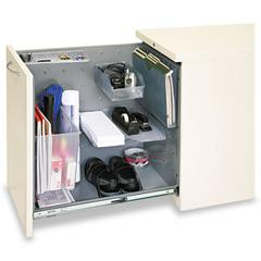"HON Flagship Left Side Access Pedestal File Cabinet - 15.0"" x 22.9"" x 28.0"" - Security Lock - Putty"