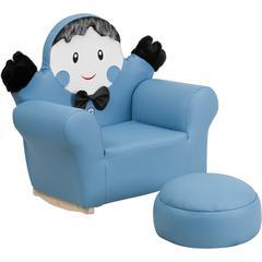 Kids Blue Little Boy Rocker Chair and Footrest