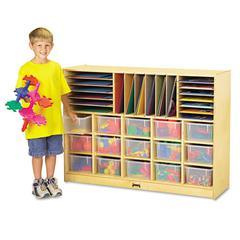 Jonti-Craft Sectional Mobile Cubbie, No Trays, 48w x 15d x 35-1/2h, Birch