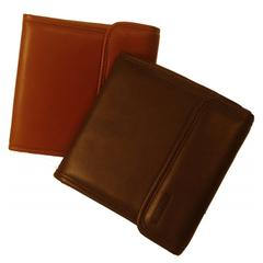 Brown Leather CD/DVD Organizer Case with Felt Lining