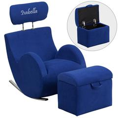 Personalized HERCULES Series Blue Fabric Rocking Chair with Storage Ottoman