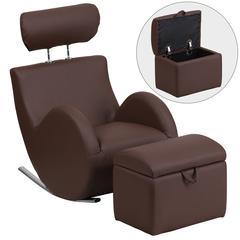 HERCULES Series Brown Vinyl Rocking Chair with Storage Ottoman