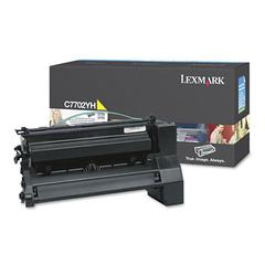Lexmark C7702YH High-Yield Toner, 10000 Page-Yield, Yellow