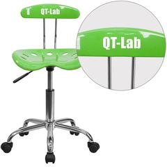 Personalized Vibrant Apple Green and Chrome Swivel Task Chair with Tractor Seat