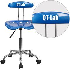 Personalized Vibrant Bright Blue and Chrome Swivel Task Chair with Tractor Seat