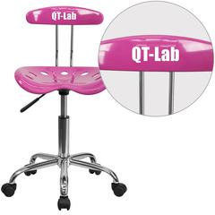 Personalized Vibrant Candy Heart and Chrome Swivel Task Chair with Tractor Seat