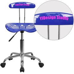 Personalized Vibrant Nautical Blue and Chrome Swivel Task Chair with Tractor Seat