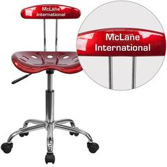 Personalized Vibrant Wine Red and Chrome Swivel Task Chair with Tractor Seat