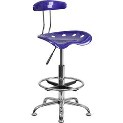 Vibrant Deep Blue and Chrome Drafting Stool with Tractor Seat