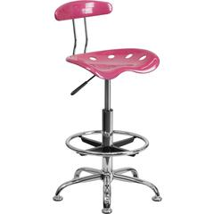 Flash Furniture Vibrant Pink and Chrome Drafting Stool with Tractor Seat