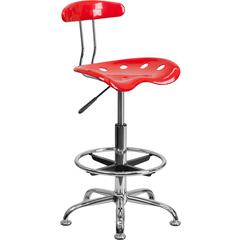 Flash Furniture Vibrant Red and Chrome Drafting Stool with Tractor Seat