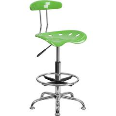 Vibrant Spicy Lime and Chrome Drafting Stool with Tractor Seat
