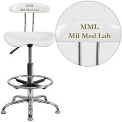 Personalized Vibrant White and Chrome Drafting Stool with Tractor Seat