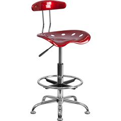 Flash Furniture Vibrant Wine Red and Chrome Drafting Stool with Tractor Seat