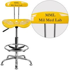 Personalized Vibrant Orange-Yellow and Chrome Drafting Stool with Tractor Seat