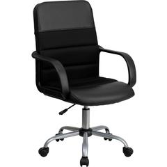 Mid-Back Black Leather and Mesh Swivel Task Chair with Arms