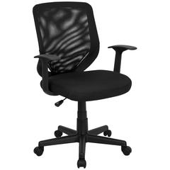 Flash Furniture Mid-Back Black Mesh Swivel Task Chair with Mesh Padded Seat