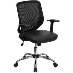 Flash Furniture Mid-Back Black Mesh Swivel Task Chair with Leather Padded Seat