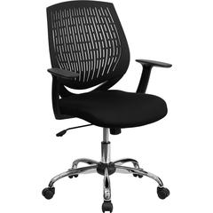 Mid-Back Black Designer Back Task Chair with Arms and Chrome Base