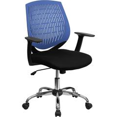 Mid-Back Blue Designer Back Task Chair with Arms and Chrome Base