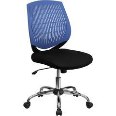 Mid-Back Blue Designer Back Task Chair with Chrome Base