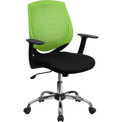 Mid-Back Green Designer Back Task Chair with Arms and Chrome Base
