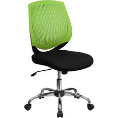 Flash Furniture Mid-Back Green Designer Back Task Chair with Chrome Base
