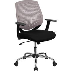 Mid-Back Gray Designer Back Task Chair with Arms and Chrome Base