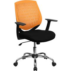 Flash Furniture Mid-Back Orange Designer Back Task Chair with Arms and Chrome Base