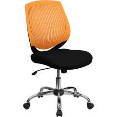 Mid-Back Orange Designer Back Task Chair with Chrome Base