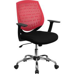 Mid-Back Red Designer Back Task Chair with Arms and Chrome Base