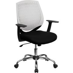 Mid-Back White Designer Back Task Chair with Arms and Chrome Base