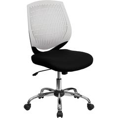 Mid-Back White Designer Back Task Chair with Chrome Base