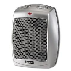 Ceramic 1500W Heater w/Adjustable Thermostat, 7w x 6d x 9-1/5h, Gray