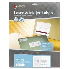Maco White All-Purpose Labels, 1/2 x 1 3/4, 2000/Box